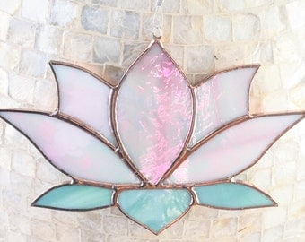Stained Glass Suncatcher, Pink Lotus Flower, Sun Catcher, Meditation, Yoga Studio, Irridescent, Garden Art, Spiritual Art, Home Decor