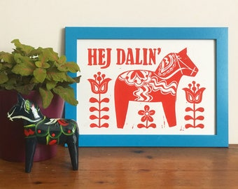 Swedish Dala Horse Linocut Print, Lino print, funny print, Scandinavian inspired art, scandi design, swedish folk art, horse art