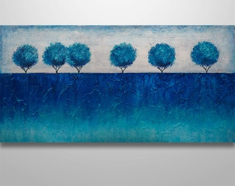 Abstract Wall Art, Abstract Landscape, Abstract Painting, Acrylic painting, Heavy texture, blue, original painting, canvas art, Tree Trees