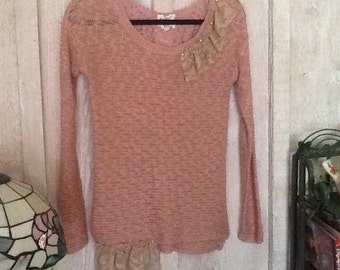 Altered, recycled, repurposed sweater, shabby chic, boho, romantic, embellished, lace