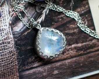Moonstone Pendant Necklace | Rainbow Moonstone Heart Drops | Floral Bezel Set | Silver Plated | Sterling Silver Necklace | Ready to Ship