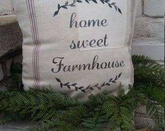 Authentic GRAIN SACK PILLOW Home Sweet Farmhouse