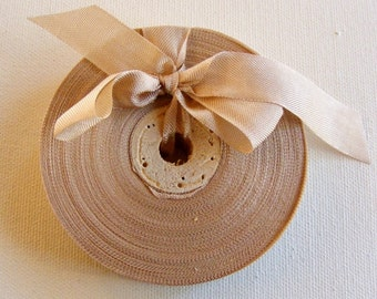 Vintage French 1930's-40's Woven Ribbon -Milliners Stock- 5/8 inch Suede Beige