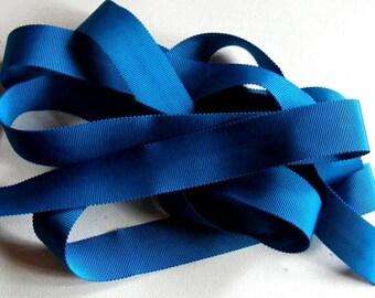 Vintage 1930's-40's Petersham Grosgrain Ribbon -Milliners Stock- 15/16 inch Teal Blue