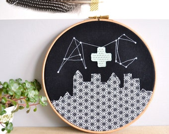 Personalised Constellation Couples Initials - Wedding Gift Embroidery Hoop Picture