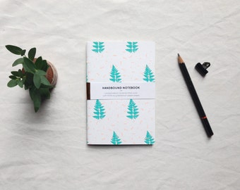 Fern party: botanical notebook screen printed sketchbook hand-bound blank inside limited edition