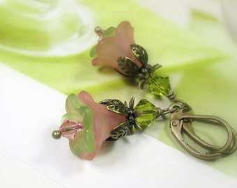 Flower Earrings, Flower Jewelry, Pink and Green Earrings, Swarovski Crystal, Spring Jewelry, Antique Brass, Soft Pastels, Boho Chic, Gifts