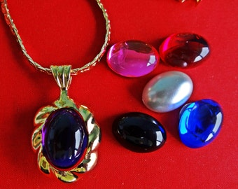 """Vintage signed PARK LANE  gold tone 18"""" necklace  with 1.5"""" pendant and 6 magnetic interchangeable center stones, unworn"""