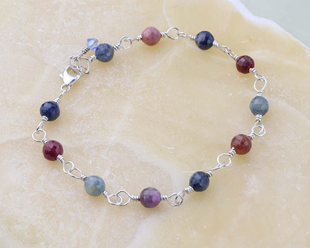 sapphire gemstone bracelet wire wrapped gemstones september