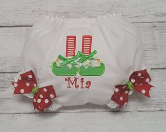 Santa's Lil Helper Diaper Cover Bloomers for Newborn Infant Toddlers Christmas Holiday