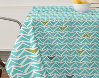 Aqua Geometric Tablecloth // Table Linens // Dining Room // Take Flight Design // Aqua Turquoise // Table Decoration // Modern Geometric