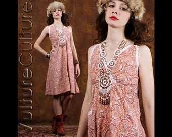 Vintage 70s Boho Hippie Dress Orange Floral Paisley Gypsy Sun Cotton S/M