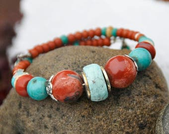 Turquoise and Red Jasper Bracelet!
