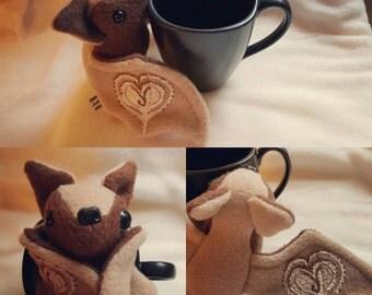 Flappuccino the coffee loving bat - Kawaii plush plushie coffee bean cappuccino bat
