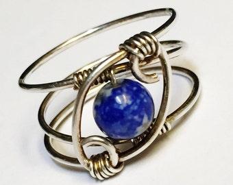 Lapis Lazuli Ring  Lapis Ring   Lapis Lazuli Jewelry   Sterling Rings for Women  Sterling Silver Rings