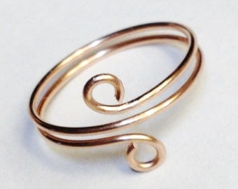 Toe Ring   Rose Gold Ring   Rose Gold Wire Wrapped Ring  14K Gold Filled Spiral Ring
