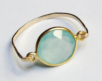 Aqua Ring   Aqua Chalcedony Gemstone Ring  14K Gold Filled Ring   Aqua Jewelry  Gold Jewelry