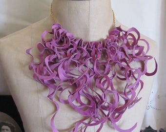 Beautiful Pink Soft Suede Leather Curly Fringe Necklace Choker (#13) Many to choose from!