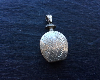 Perfume pendant sterling silver engraved