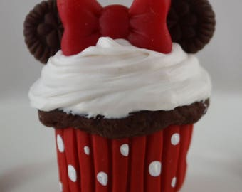 Disney inspired Red Minnie Chocolate Cupcake for American Girl Doll