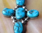 Hold for wdw2274 Vintage Sterling Silver and American Blue Turquoise Cross with Sterling Chain by Sarah Chee Navajo Sterling Silver Cross
