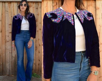 Vintage 70s INDIAN Ethnic VELVET EMBROIDERED Jacket S M