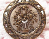 Antique Button Steel Cut with Flower Basket Brass Metal Late Victorian Turn of the Century Vintage Clothing