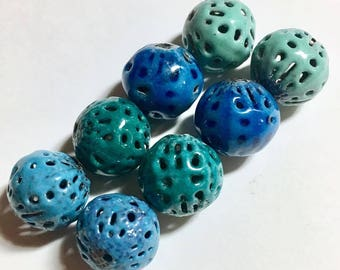 Torch fired enamel filigree beads earring pairs in assorted blues and sea green ocean beach beads set of 8 by Paulbead, rustic enamel rounds