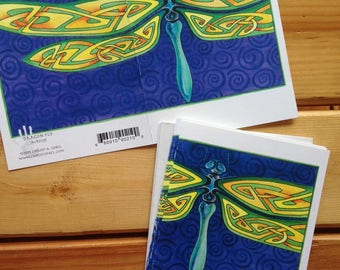 6 Celtic Dragonfly blank cards