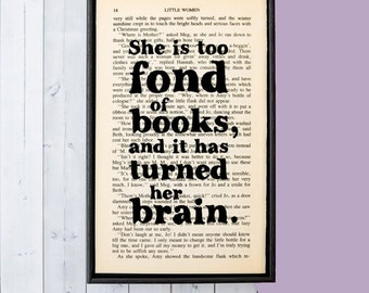 Literary Gifts - Literary Quotes - Little Women - Book lover Gift - Fond Of Books - Framed Print - Bookworm Gift - Women's Gift