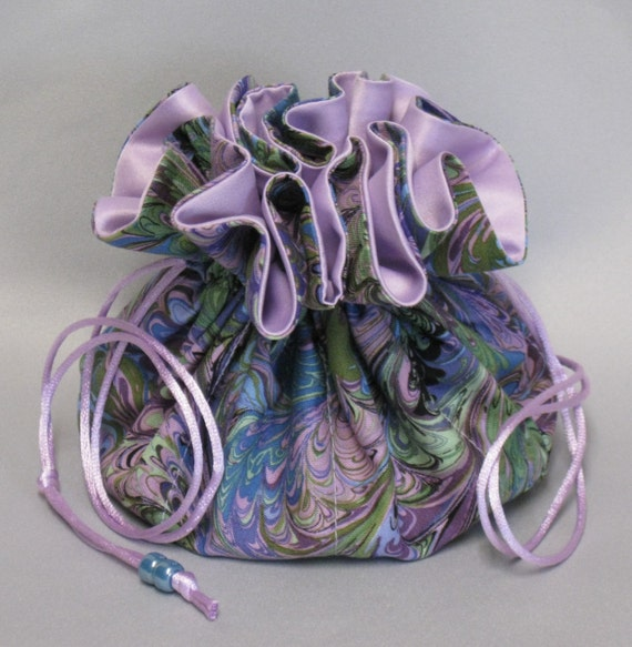 Jewelry Tote---Multi-Color Abstract Design ---Drawstring Organizer Travel Pouch---Large Size