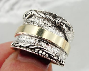Free Shipping, 925 sterling Silver and 9k yellow gold ring,  Wedding ring, wide band, size 8.5, Yellow Gold ring, Israeli Jewelry (s r100)