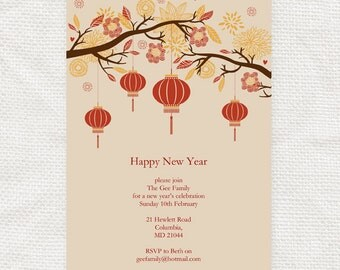 chinese new year invitation - printable file - lantern tree asian diy editable party invite, instant download, birthday invite, dinner party
