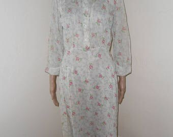 1930's Off White w/Pink Flowers Sheer Day Dress - Size