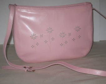 vintage Pretty in Pink Leather Handbag with Cross Body - Shoulder Strap by Talbots