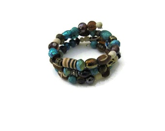 Brown Beige Turquoise Memory Wire Bangle Bracelet Bohemian Gypsy Tribal