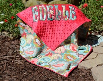 Paisley Baby Girl Blanket, Watermelon Minky,Personalized Baby Blanket, Baby Girl,