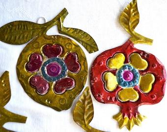 Vintage Mexican Tin Christmas Ornaments - Metal Pomegranates - 4