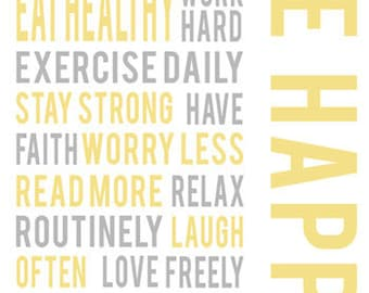 Inspirational wall art, Yellow Grey Art, Be happy positive life quotes, typography quote, Motivational art prints, typography poster decor