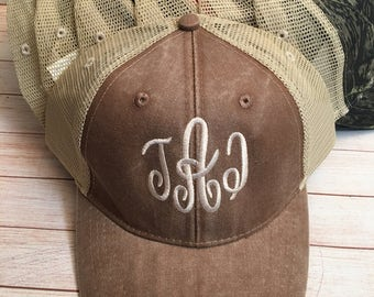 Personalized Women's Trucker Hat Monogram Hat Womens Trucker Hats Distressed Cap