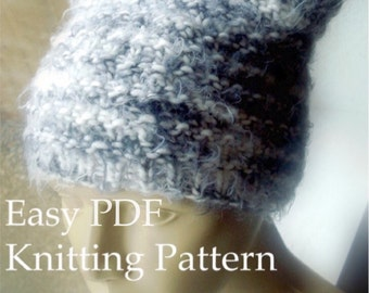 Print and Knit DIY Beanie Knitting Pattern Textured Hat Tutorial with Photos Textured Easy Knit Circular Knitting Pussyhat Project PDF File