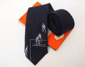 Navy Blue Cricket Tie, Cricket Gift, Cricket, Gift for Dads, Dads Gift, Sport, Sport Gift, Gift for Men, Gift for Grandfather, Gift for Him