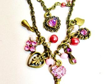 Art Nouveau Victorian Pink Crystal Rhinestone Keys Hearts Pearls Charms Blush Choker Collar Necklace Double Strand High Fashion