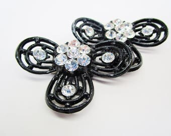 Vintage Tip Toe Shoe Clips Crystal Rhinestones Black Enamel Large Clover Shape High End Contemporary Mid Century 50's Art Deco Statement