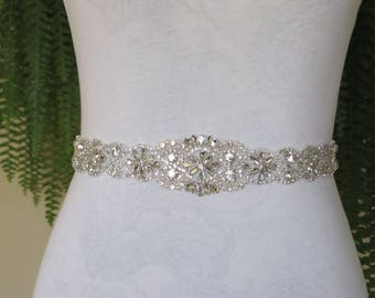 Silver Rhinestone Bridal Sash,Wedding sash,Bridal Accessories,Bridal Belt,Bridal Applique #107 silver