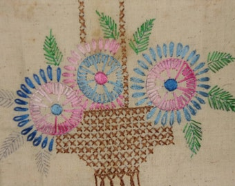 DIY Embroidered Square (unfinished) 18 x 21 inches, Basket with Flowers, Linen, Off White,  Vintage, Stained,