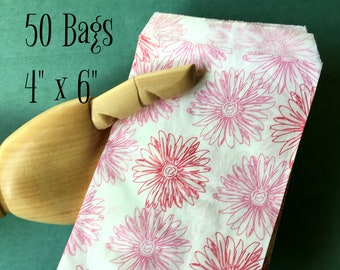 "Pink Floral Print Bags 4"" x 6"" Merchandise Bags Packaging Feminine Pretty Flowers Wedding Favor Bags Treat Bags Gift Bags Small Paper Bags"