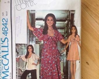 Vintage 70s McCall's 4642 Flutter Sleeve Dress • size 7