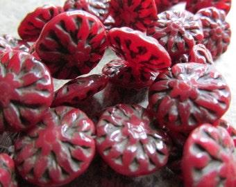 14mm Dark Red Dahlia Czech Glass Beads, 14mm Czech Glass Flower, Red Czech Glass, Flower bead, Czech Glass Dahlia, DAHLIA14-OPDKRED