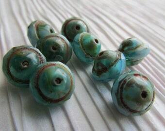Green & Turquoise Picasso Saturn Czech Glass Bead, 8 x 10mm Saturn, Czech Glass Saturn Bead, Green Turquoise Czech glass
